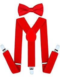 Child Kids Suspenders Bowtie Set - Adjustable Suspender Set for Boys and Girls