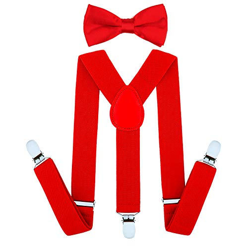 Child Kids Suspenders Bowtie Set - Adjustable Suspender Set for Boys and Girls(30Inches(6 Years to 5 Feet Tall),Red) ()
