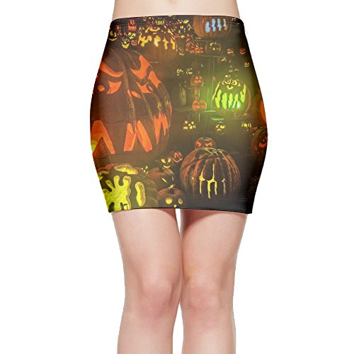 Cool Halloween Pumpkin Light 2017 Women's Fashion Mini Skirt Knit (Celebrity Halloween Costumes 2017)