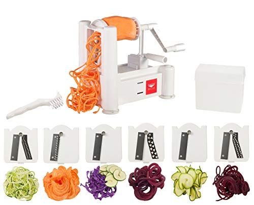 Paderno World Cuisine 6-Blade Vegetable Slicer / Spiralizer, Counter-Mounted and includes 6 Different Stainless Steel Blades (Renewed)