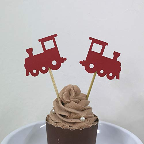 24 CT Red Train Cupcake Toppers Baby Showers Kid's Birthday Travel Theme Transportation Party Decorations ()