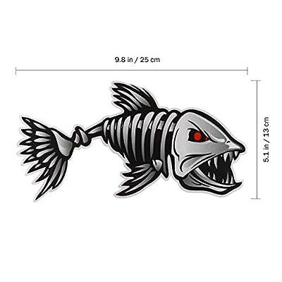 WINOMO 2Pcs 10x5 inch Fish Skeleton Decals Sticker Vinyl Auto Decal Sticker for Kayak Fishing Car: Automotive
