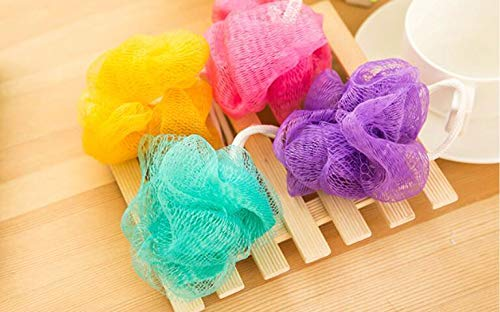 Random Color 3pcs Bath Shower Body Exfoliate Puff Sponge Mesh Net Candy Colors ()