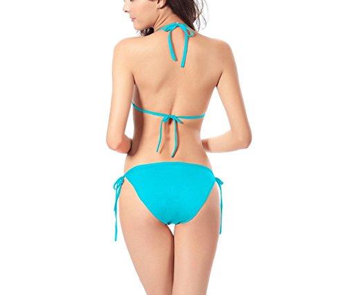 Shangrui Mujer Traje de Baño de la Serie Moda Color Sólido Vendaje Bikini(FZSW0050) Azul