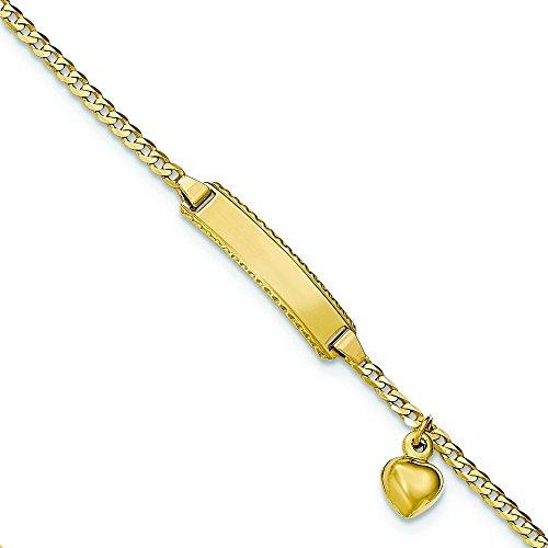 Baby ID Curb 14 carats avec pendentif en forme de cœur Longueur :  6 cm-JewelryWeb
