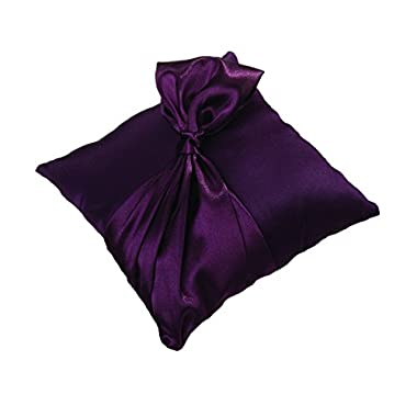 Lillian Rose Satin Ring Pillow, 7.5-Inch, Plum