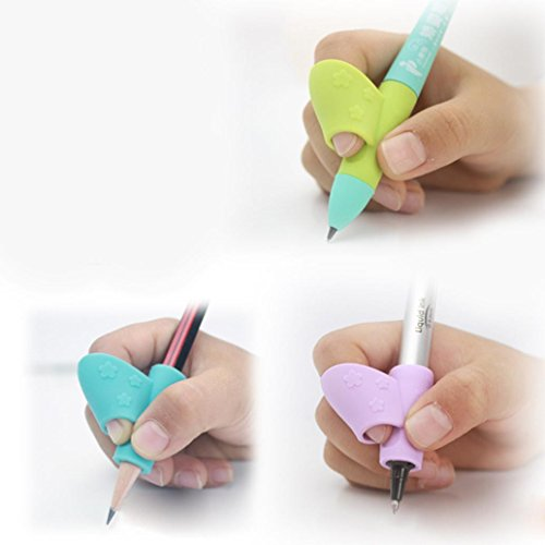 3PCS Silicone Pen Sets Children Pencil Holder Pen Writing Aid Grip Posture Correction Tool Prevention Due to Writing Posture Myopia (Pink) by paway (Image #4)