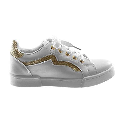 ... Angkorly Damen Schuhe Sneaker - Sporty Chic - Tennis - Glitzer - Fertig  Steppnähte Flache Ferse ... 0371137359