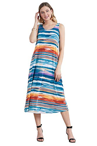 Jostar Women's Stretchy Long Tank Dress Print Medium Multi Abstract ()