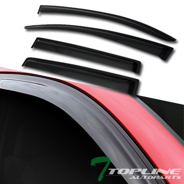 Topline Autopart Smoke Window Visors Deflector Vent Shade Guard 4 Pieces For 13-15 Chevy Spark ; 14-16 Chevy Spark EV