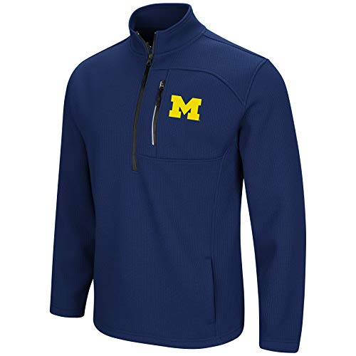 Colosseum Men's NCAA-Townie-1/2 Zip-Corded-Fleece Pullover Jacket-Michigan Wolverines-Navy-XXL ()