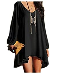 Roiii Women Off Shoulder V-neck A-line Mini Strapless Loose Casual Dress