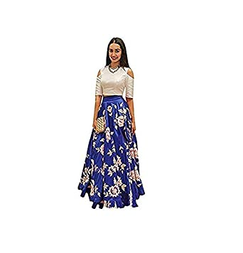 SHREEJI ENTERPRISE SURAT Women s Silk Unstitched Lehenga Choli (Blue   Off- White)  Amazon.in  Clothing   Accessories 8ed00776ce
