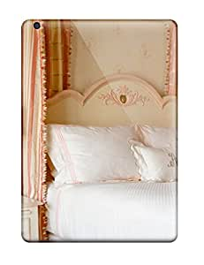 Monica Smith Design High Quality Traditional Girl8217s Bedroom With Feminine 038 Striped Curtains On Canopy Bed Cover Case With Excellent Style For Ipad Air