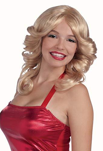 Forum Novelties Women's 70's Disco Angel Farrah Costume Wig, Blonde, One Size]()