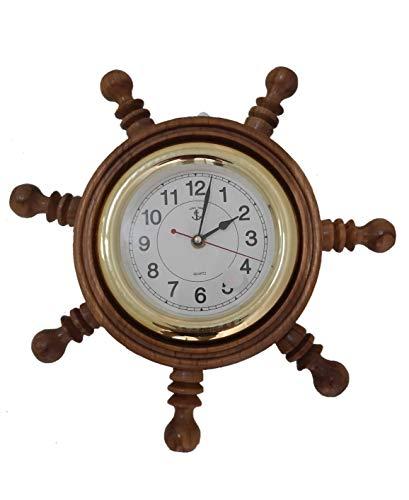 < TITEAK > Teak Wood Wall Clock Ship Wheel Brass Home Decor, Teak Wood -