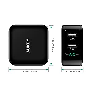 AUKEY Universal Dual-Port 24W USB Wall Charger - Black