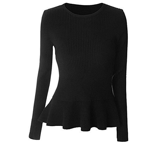 ALAPUSA Women's Long Sleeve Knitted Fitted Peplum Tunic Top (US,XS/Asia,S) Black