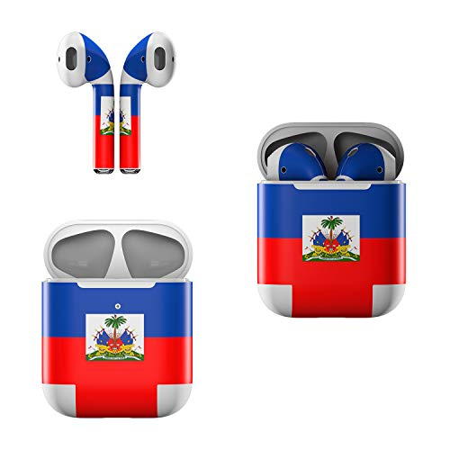 Skin Decals for Apple AirPods - Haiti Flag - Sticker Wrap Fits 1st and 2nd Generation (Haiti Accessories)