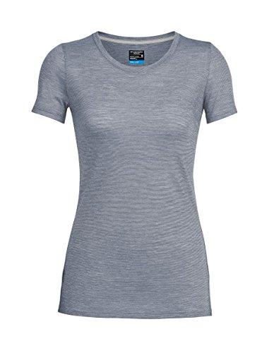 Icebreaker Merino Women's Cool-Lite Sphere Short Sleeve Low Crewe T-Shirt, Panther/Snow/Stripe, Large - Stripe Wool Skirt
