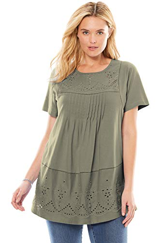 (Woman Within Women's Plus Size Embroidered Eyelet Pintucked Tunic - Olive Grey, 1X)