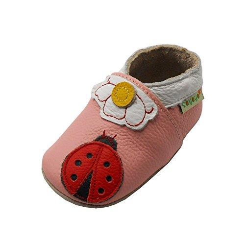 Sayoyo Ladybug and Flower Soft Sole Leather Infant Toddler Prewalker Shoes (24-36 months / 8.5-9 M US Toddler)