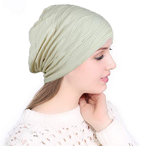 Women Soild India Hollow Stretch Turban Hat knitt Hair Loss Head Scarf Wrap For Cancer (Beige)
