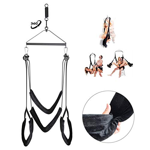 HXC_TECHA Sē&x Swing Set 360 Swivel Swing Kit 3rd-Generation Luxury Heavy Duty Hanging Swings Support 800 lbs Weight Capacity - Soft and Comfortable - Height Adjustable, Black by HXC_TECHA