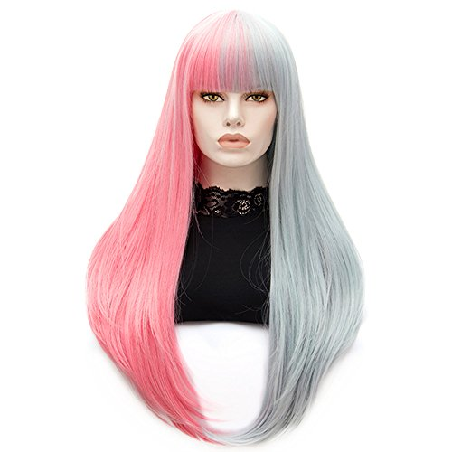 Costume Halloween Perruque (Bopocoko Women's Long Wigs Straight Synthetic Hair Pink and Grey Halloween Costume Cosplay Wig with Wig Cap A-BU117D)