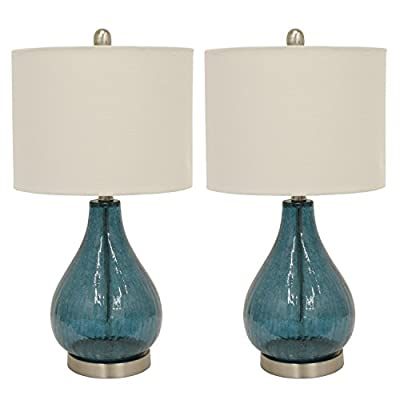 Decor Therapy MP1054 Table Lamp, Emerald Blue Green - Glass and metal table lamp Linen hardback lamp shade Lamp shade Dimension 12 x 12 x 9 - lamps, bedroom-decor, bedroom - 41dIDxxZS%2BL. SS400  -