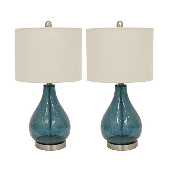 Decor Therapy MP1054 Table Lamp, Emerald Blue Green - Glass and metal table lamp Linen hardback lamp shade Lamp shade Dimension 12 x 12 x 9 - lamps, bedroom-decor, bedroom - 41dIDxxZS%2BL. SS570  -