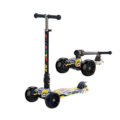 AHTOSKA hicken Widen Flash Wheel Scooter Gift for Kids Fun Exercise Toys Scooter Children Kick Folding Scooter