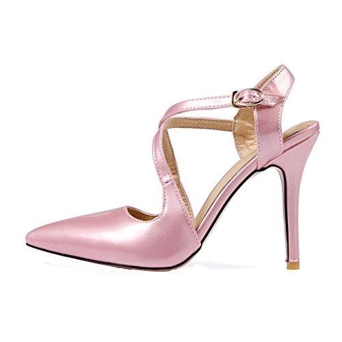 YE Damen Spitze Ankle Strap High Heels Stiletto Lackleder Pumps mit 10cm Absatz Party Elegant Kleid Schuhe Rosa