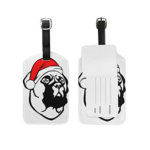 Travel Christmas Bullmastiff Dog Leather Luggage Tags with Black Strap, Set of 1 (Bullmastiff Leather)