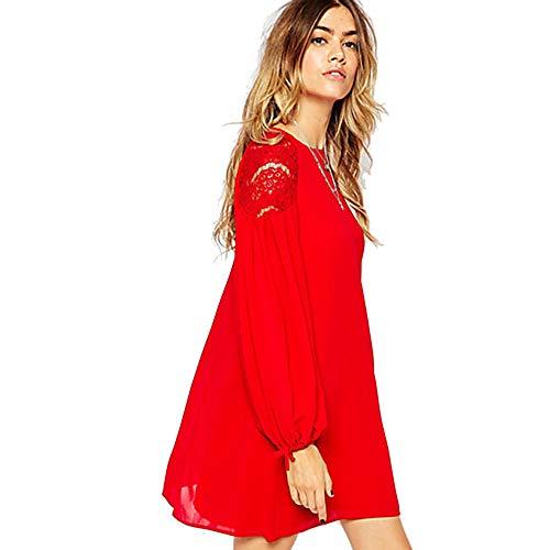 JIZHI Mujer Chic De Calle Gasa Vestido - Encaje, Un Color Sobre La Rodilla,Red,L