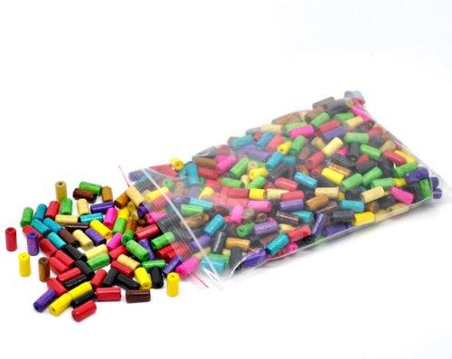 Colori Assortiti con Foro da 2 mm SiAura Perline in Legno 500 Pezzi 6 x 12 mm