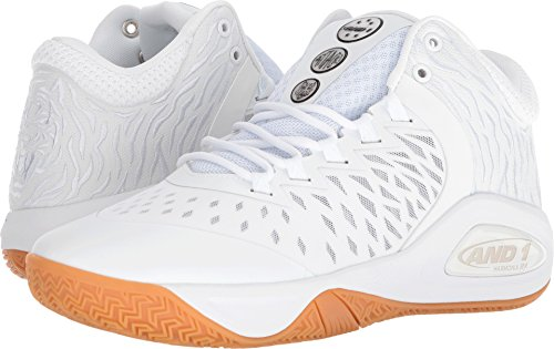 AND 1 Men's Attack Mid Basketball Shoe, White/Super foil/Gum, 11 M US (One Shoes Basketball)