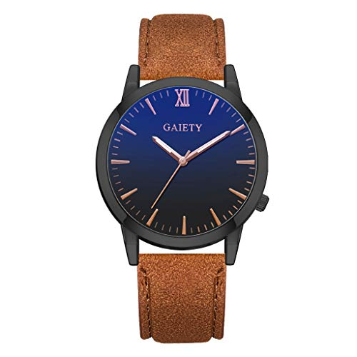 Fashion Classic Blue Glass Casual Business Stainless Steel Quartz Watches for Men Leather Bands (Coffee)