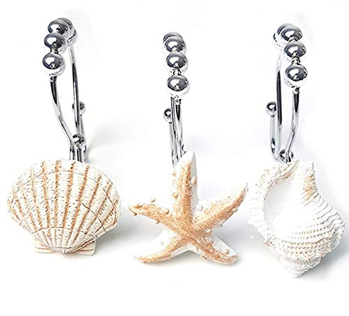 Shower Shell - Love Creative Double RUSTPROOF Shower Curtain Hooks Rings Resin Starfish Shell STAINLESS STEEL Shower Curtain Hooks Rings Easy Glide 12 Count