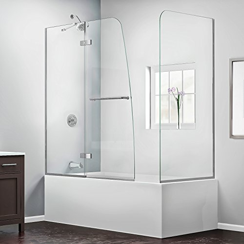 DreamLine Aqua Ultra 57-60 in. W x 30 in. D x 58 in. H Frameless Hinged Tub Door with Return Panel in Chrome, SHDR-3448580-RT-01