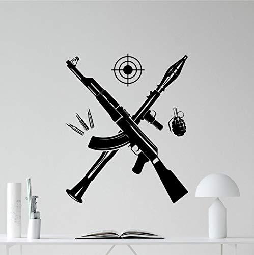 TWJYDP Wall Stickers Wallsticker Bazooka Kalashnikov Assault Rifle Grenade Wall Vinyl Decal Military Wall Decor Wall Art Kids Boy Room Finished Size 58X72Cm