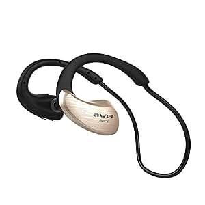 Sport Wireless Earphones-AWEI A885BL Bluetooth In Ear Earphones With Microphone Built In Waterproof In Ear Earbuds (Gold)