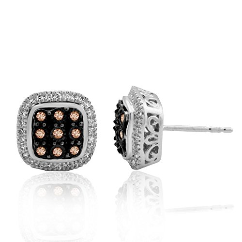 10k White Gold with Black Rhodium White and Brown Diamond Square Stud Earrings (1/4 Carat) ()