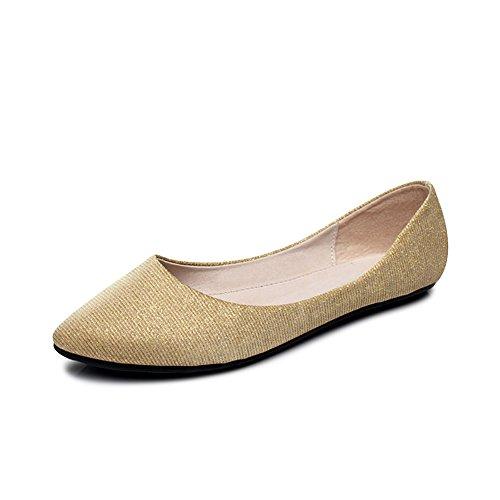 OCHENTA Bailarinas Mujer Casual Simple Cómodos Zapatos Planos Dorado