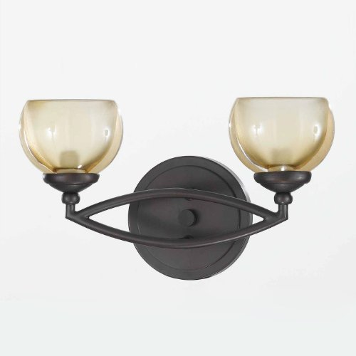 (Triarch 25372 Retro Collection 2-Light Vanity Fixture, Bronze Finish with Champagne Tinted Glass)