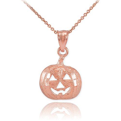 14k Rose Gold Jack O'Lantern Pumpkin Pendant Necklace Charm, 22