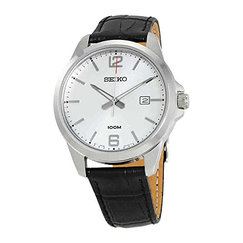 Seiko-SUR249-Mens-Stainless-Steel-Leather-Band-Silver-Dial-100M-Casual-Dress-Watch