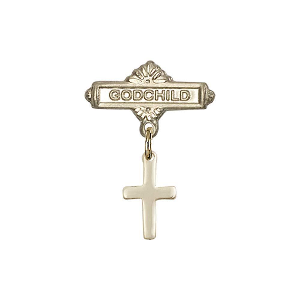 DiamondJewelryNY Baby Badge with Cross Charm and Godchild Badge Pin