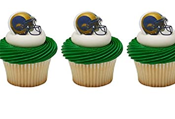 24 Los Angeles RAMS Cupcake RINGS Toppers LA Footbal NFL Party BIRTHDAY Favors ANY OCCASION Fan