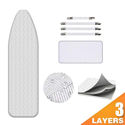 Ironing Board Cover and Pad AUSHEN Extra Thick Padding Silver Coated Scorch and Stain Resistant 15 x 54 inch Replacement Iron Board Cover with Elastic Edge 4 Fasteners 1 Protective Scorch Mesh Cloth